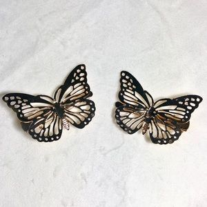 Golden butterfly hair clips (set of 2)